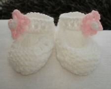 Hand Knitted White Cute Baby Shoes Bootees With Flower On Strap - Newborn 0-3