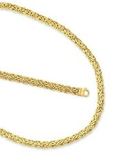 7mm Byzantine Bracelet Chain Necklace Set Lobster Clasp Real 14K Yellow Gold