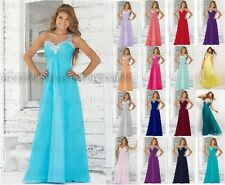 Chiffon Bead Long Evening Formal Ball Gown Party Prom Bridesmaid Dress Size 6-16