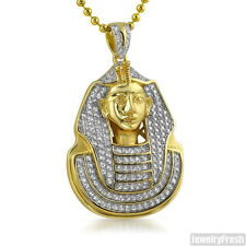 14K Gold 925 Silver CZ Iced Out Pharoah Pendant Chain