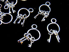 "10Pcs - Tibetan Silver "" Set of keys  "" Charms Pendant Kitsch Alice Jailer ML"