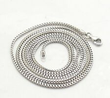 1.8mm Anti-Tarnish Solid Franco Chain Necklace Real 925 Sterling Silver ITALY