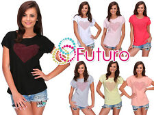 Womens Top Sequined Heart Crew Neck Short Sleeve Cotton T-Shirt Size 8-14 FB274