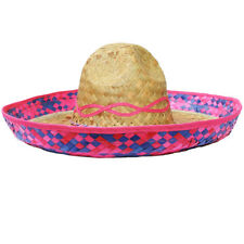 PINK STRAW SOMBRERO HAT 6 PACK PARTY MEXICAN HEN STAG BANDIT FANCY DRESS