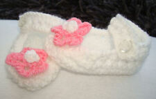 Hand Knitted White Cute Baby Shoes Bootees With Flower On Front  Newborn 0-3 3-6