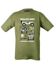 Willys Jeep Americans Finest Printed Olive Tshirt WW2 Unisex - Army Military