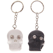 GTH142  Crystal Eyed Skull Key Ring Silver, White or Black