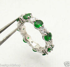 Oval Emerald Round CZ Eternity Band Ring Anti-Tarnish 925 Sterling Silver