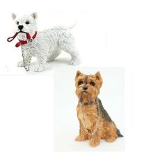 LEONARDO DOG WALKIES YORKSHIRE TERRIER SITTING / WESTIE STANDING ORNAMENT BOXED