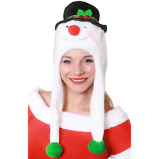 SNOWMAN CHRISTMAS HAT WITH JINGLE BELL WHITE PLUSH XMAS FANCY DRESS SNOW WINTER