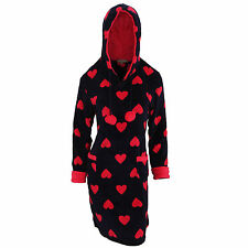 Womens/Ladies Heart Pattern Soft Fleece Pyjama Snuggle Top with Hood