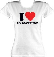 Valentines T-Shirt - I Love My Boyfriend White Womens
