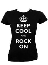 Keep Cool and Rock On Ladies Black T-Shirt