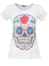 Monkey Business Sugar Skull Women's White T-shirt
