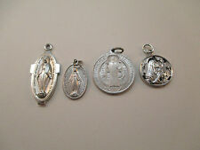 SILVER TONE MIRACULOUS MEDALS MEDAL OF ST BENEDICT & MEDAL OF MOTHER MARY **