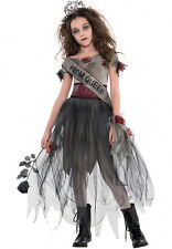 GIRLS ZOMBIE PROM QUEEN COSTUME LONG FANCY DRESS HALLOWEEN OUTFIT AGE 12-14-16