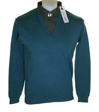 Bnwt Authentic Men's Full Circle V Neck Jumper Sweater Shirt Blue Panzer