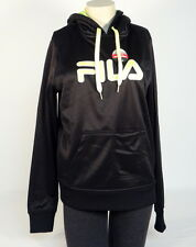 Fila Signature Black & Bright Green Pullover Hoodie with Thumbholes Women NWT