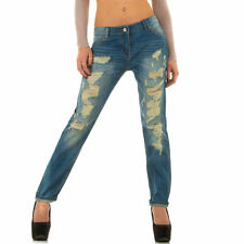 LUXUS NEU DESIGNER  1h5v DESTROYED RELAXED HÜFT DAMENJEANS Blau 0€