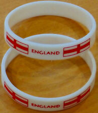 England Wristbands Pack of 2 Silicone White Red England Flag St George Strong