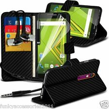 Leather Wallet Phone Case?In Ear Stereo Headset for Motorola Moto X Play