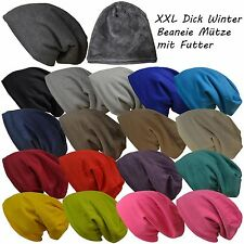 Warme Winter Unisex Strick XXL Long Dick Beanie Mütze weichem Innenfutter
