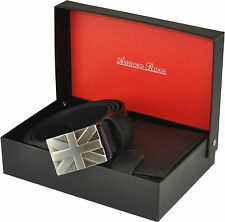 MENS FULL GRAIN LEATHER UNION JACK BELT & WALLET GIFT SET BLACK OR BROWN 28 - 60
