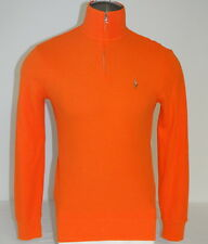 Polo Ralph Lauren Bright Orange 1/4 Zip Cotton Pullover Shirt Sweater  Mens