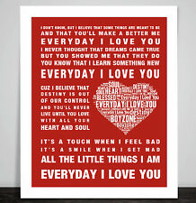 Boyzone Every Day I love You Song Lyrics Music Word Art Poster Print Wedding