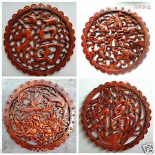 CHINESE HAND CARVED STATUE CAMPHOR WOOD ROUND PALTE WALL SCULPTURE 18 STYLE
