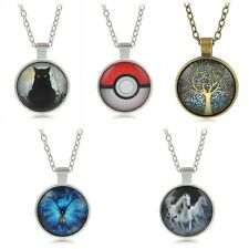 Anime Retro Tree of Life Butterfly Pokeball Cat Cabochon Glass Pendant Necklace