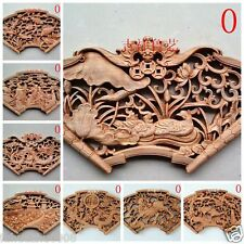 CHINESE HAND CARVED STATUE CAMPHOR WOOD FANSHAPED WALL SCULPTURE 19 STYLE