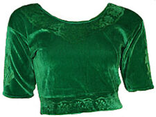 Vert Velours Top Choli pour Sari Style Bollywood Taille S à 3XL