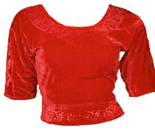 Rouge Velours Top Choli pour Sari Style Bollywood Taille S à 3XL