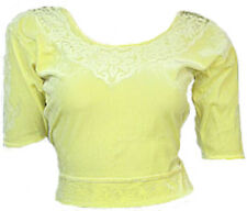 Jaune Velours Top Choli pour Sari Style Bollywood Taille S à 3XL