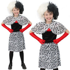 GIRLS EVIL DOG LADY FANCY DRESS COSTUME DALMATIAN PRINT DRESS WITH CAPE AND WIG