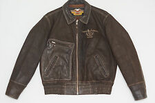 Harley Davidson Men's Vintage V-TWIN Brown Bomber D-Pocket Leather Jacket L Rare