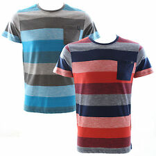 Duck and Cover Krypton Block Stripe Crew Neck T-Shirt Bay Blue Size Large