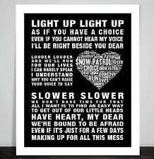 Snow patrol Run Music Love Song Lyrics Art Print Poster Heart Shape Valentine