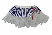 "Ladies 12"" Sailor Cyber Tutu Skirt White & Blue Striped Nautical Fancy Dress"