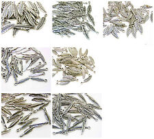 Tibetan Silver Feather / Leaf Angel Wing Charms Jewellery Pendant Craft ML