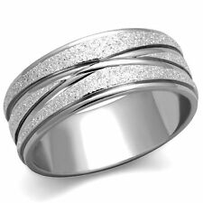 STAINLESS STEEL 316L GLITTER 8MM WIDE ANNIVERSARY WEDDING BAND RING