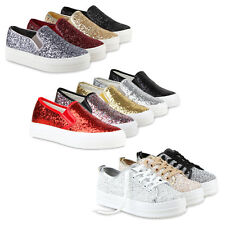 Damen Plateau Sneakers Low Glitzer Metallic Turnschuhe 810730