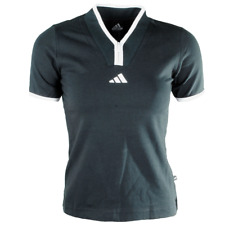 Adidas Zip Up Y Neck Mecca T Shirt Short Sleeve Summer Gym Workout Tops  Womens