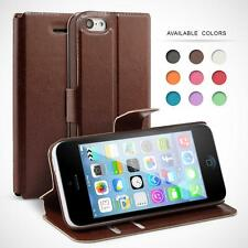 Faux Leather Slim Book Flip Case Cover for Various iPhone Models