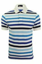 Mens Fred Perry Multi Stripe Polo T-Shirt S/S White/Blue