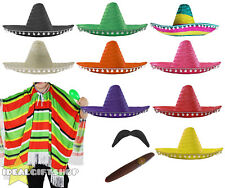 MEXICAN MAN COSTUME SOMBRERO PONCHO TASH CIGAR WESTERN ADULTS FANCY DRESS PARTY
