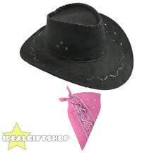 BLACK FAUX SUEDE COWBOY HATS AND PINK PAISLEY BANDANA WESTERN COSTUME ACCESSORY