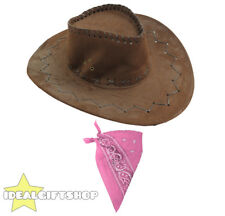 BROWN FAUX SUEDE COWBOY HATS AND PINK PAISLEY BANDANA WESTERN COSTUME ACCESSORY