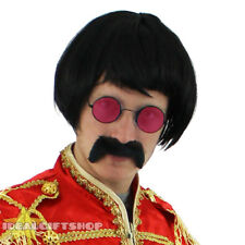 1960S POP SERGEANT FANCY DRESS COSTUME SET WITH RED HIPPY GLASSES, WIG + TASH